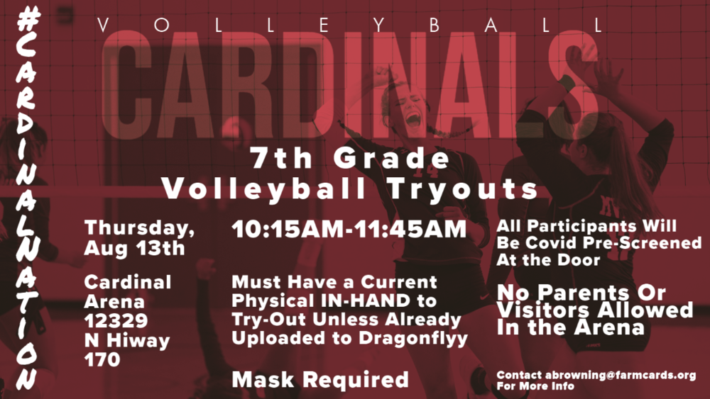 Farmington to Hold 7th Grade Volleyball Tryouts