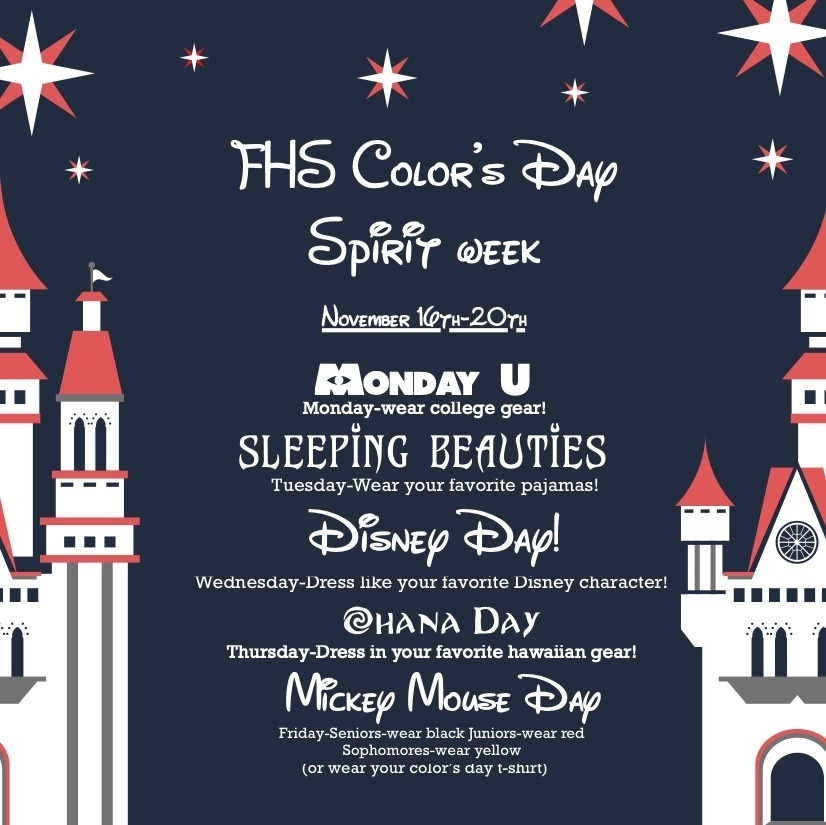 Monday - University gear, Tuesday - PJ day, Wednesday - favorite Disney character, Thursday - Hawaiian gear, Friday - Seniors wear black, juniors wear red, Sophomores wear yellow